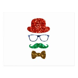 christmas hipster mustache postcard