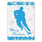 Christmas Hockey Blue Snowflakes Male Card