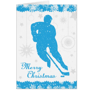 Christmas Hockey Blue Snowflakes Male Card