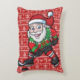 Christmas Hockey Santa Claus Accent Pillow