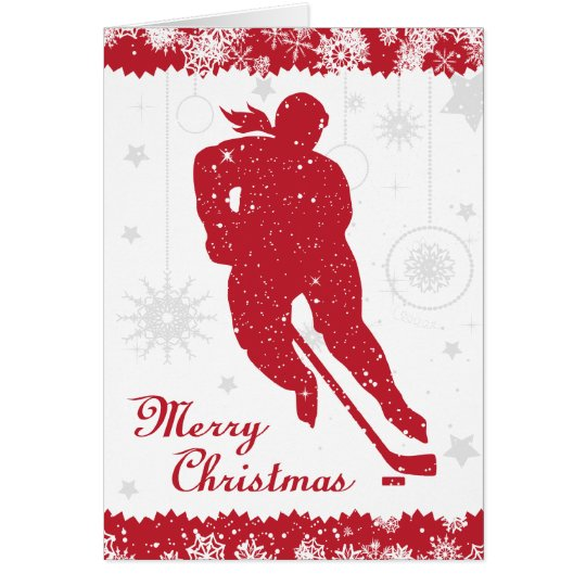 Christmas Hockey Women's Red Snowflakes Female Card