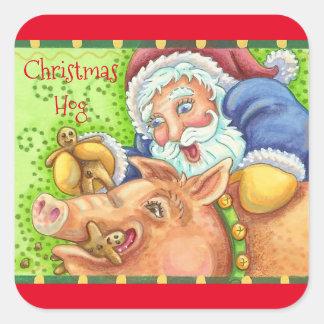 Christmas Hog And Santa STICKERS Sheet