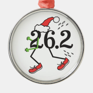 Christmas Holiday 26.2 Funny Marathon 26 2 Runner Silver-Colored Round Ornament