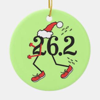 Christmas Holiday 26.2 © Funny Marathon Runner Round Ceramic Ornament