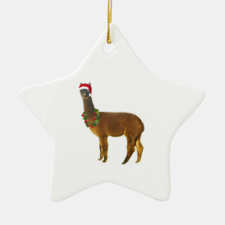 Christmas Holiday Alpaca Ceramic Star Ornament
