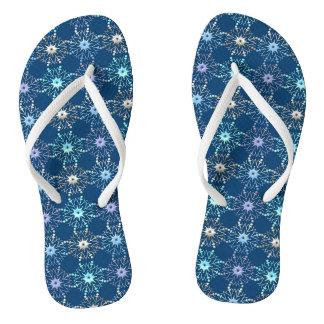 christmas holiday blue pattern flip flops