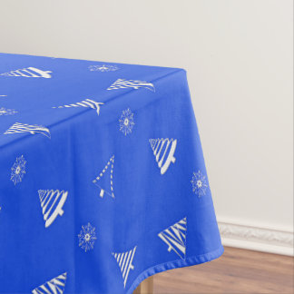 christmas holiday blue pattern tablecloth