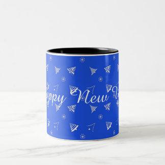 christmas holiday blue pattern Two-Tone coffee mug