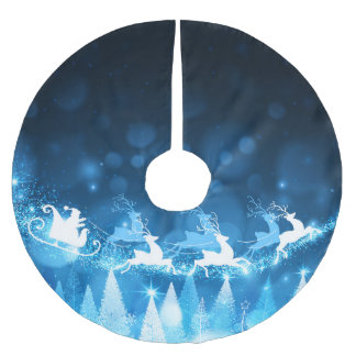 Christmas Holiday Blue Santa and Sleigh Brushed Polyester Tree Skirt