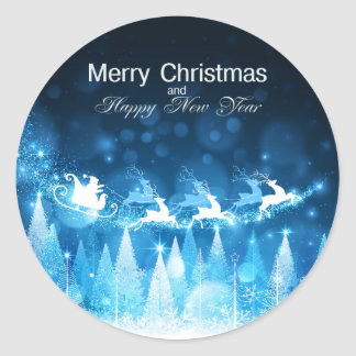 Christmas Holiday Blue Santa and Sleigh Classic Round Sticker
