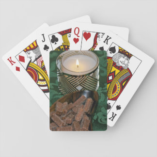 Christmas Holiday Candle and Chocolate Candies Playing Cards