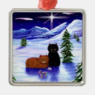 Christmas Holiday Cat Mouse Christian Religious Silver-Colored Square Ornament