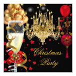 """Christmas Holiday Champagne Party Red Gold Black 4 5.25"""" Square Invitation Card"""