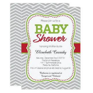 Christmas Holiday Chevron Baby Shower Invitation