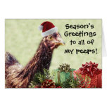Christmas Holiday Chicken in Santa Hat Greeting Card