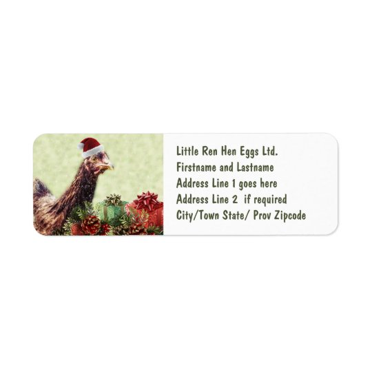 Christmas Holiday Chicken in Santa Hat Return Address Label