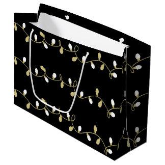 Christmas Holiday - Christmas Light Blk Background Large Gift Bag