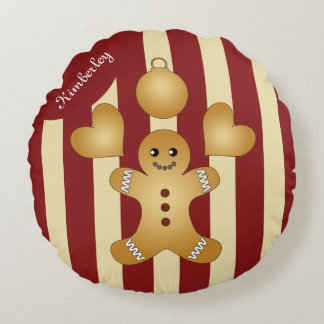 Christmas Holiday Cookies Red Stripes Pretty Round Pillow