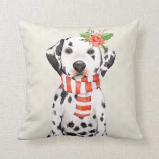Christmas Holiday Dalmatian Throw Pillow