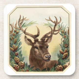 Christmas Holiday Deer Buck Pine Cones /Set of 6 Coaster