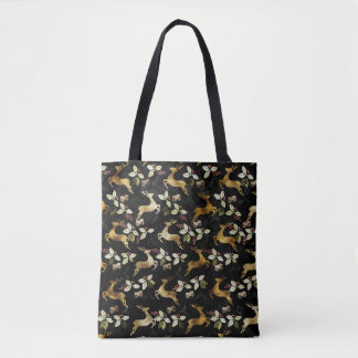 Christmas Holiday - Deer & Mistletoe Tote Bag