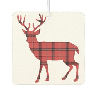 Christmas Holiday Deer Red Plaid Tartan Pattern Air Freshener