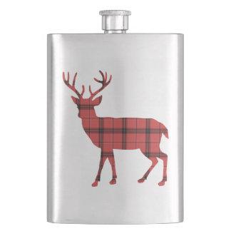 Christmas Holiday Deer Red Plaid Tartan Pattern Hip Flask