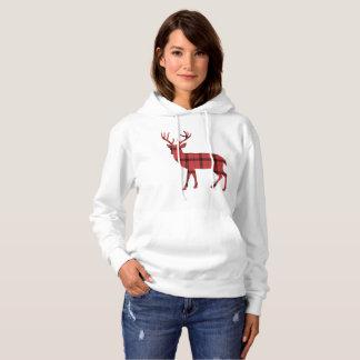 Christmas Holiday Deer Red Plaid Tartan Pattern Hoodie