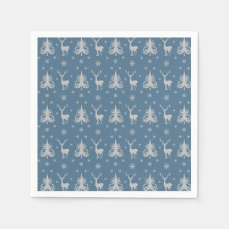 Christmas Holiday Deer Stag Pattern Blue Silver Disposable Napkin