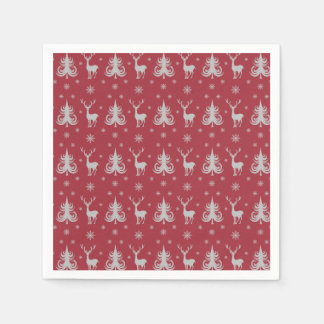 Christmas Holiday Deer Stag Pattern Red Silver Disposable Napkins