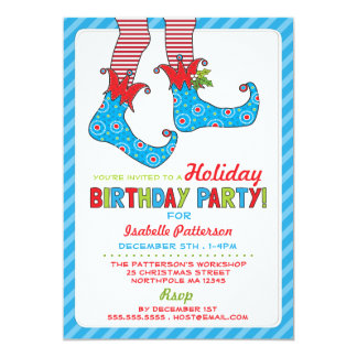 Christmas Holiday Elf Birthday Party Invitation