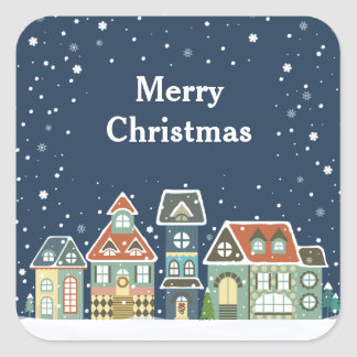 Christmas Holiday Evening Winter Village Scene Square Sticker