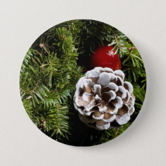 Christmas Holiday Evergreen Decoration Background 3 Inch Round Button