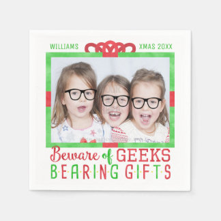Christmas Holiday Family Photo | Funny Geeks Disposable Napkin