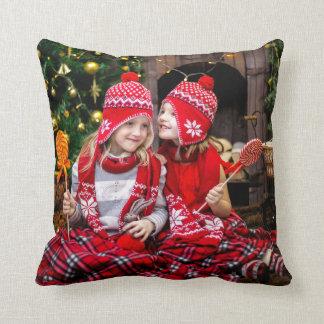 Christmas Holiday Family Photo Throw Pillow