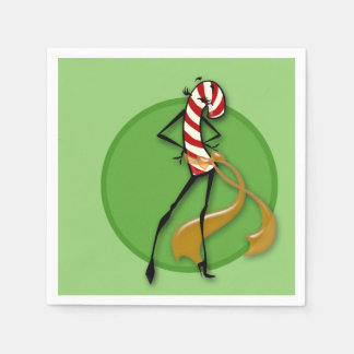 CHRISTMAS HOLIDAY FASHION CANDY CANE PAPER NAPKINS