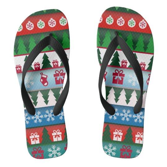 Christmas Holiday Festive Flip Flops