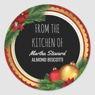 Christmas Holiday From the Kitchen Of Name Classic Round Sticker
