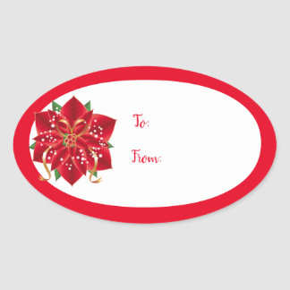 Christmas Holiday Gift Tag Stickers-Red Poinsettia