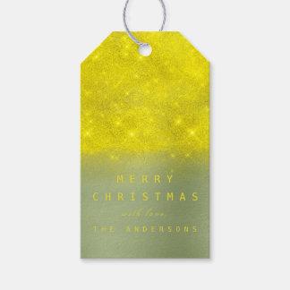 Christmas Holiday Gift Tag Yellow Mint Greenery