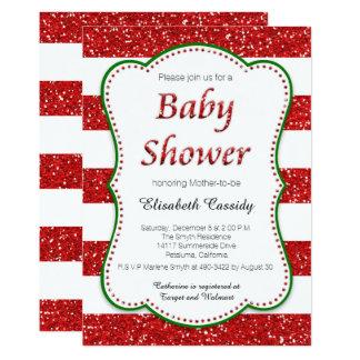 Christmas Holiday Glitter Baby Shower Invitation