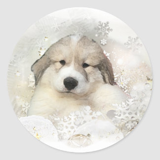 Christmas Holiday Great Pyrenees Pup Watercolor Classic Round Sticker