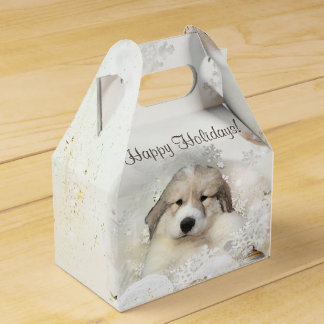Christmas Holiday Great Pyrenees Pup Watercolor Favor Box
