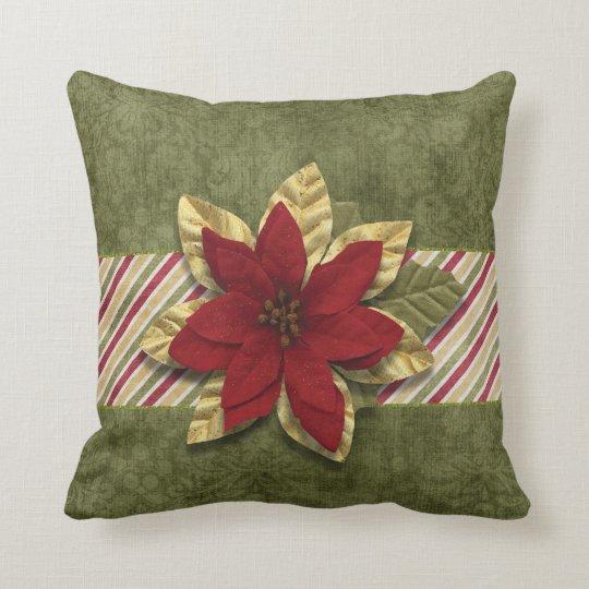 Christmas Holiday - Green Stripes & Pontsettia Throw Pillow