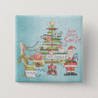 Christmas Holiday - Here Comes Santa 2 Inch Square Button