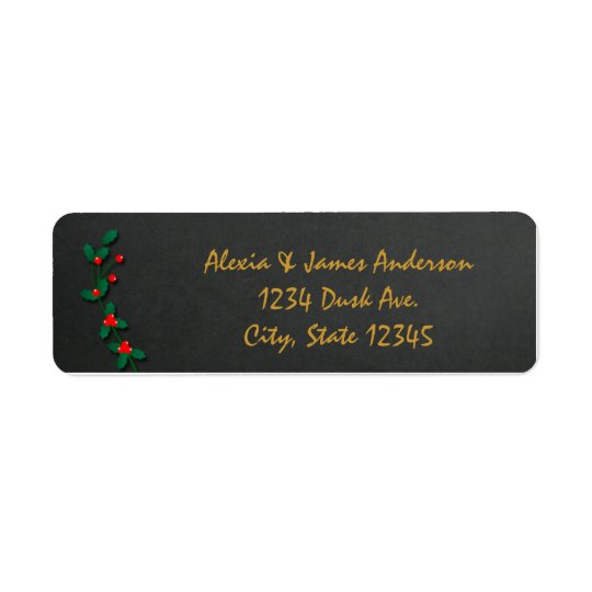 Christmas Holiday Holly Chalkboard Address Labels