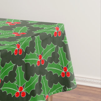 Christmas Holiday holly leaf pattern tablecloth