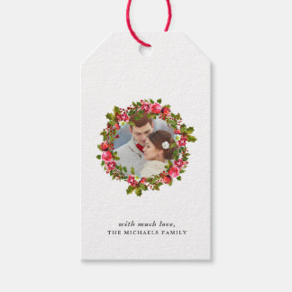 Christmas Holiday Holly Wreath and Photo Gift Tag