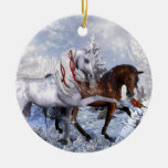 Christmas Holiday Horses Round Ceramic Ornament