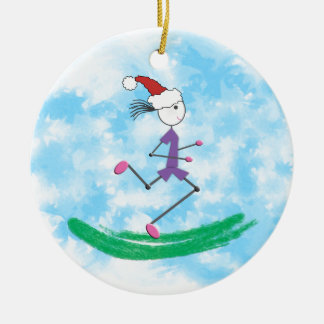 Christmas Holiday Lady Runner Round Ceramic Ornament